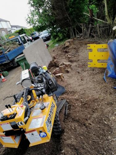 Tree stump removal in the High Peak before